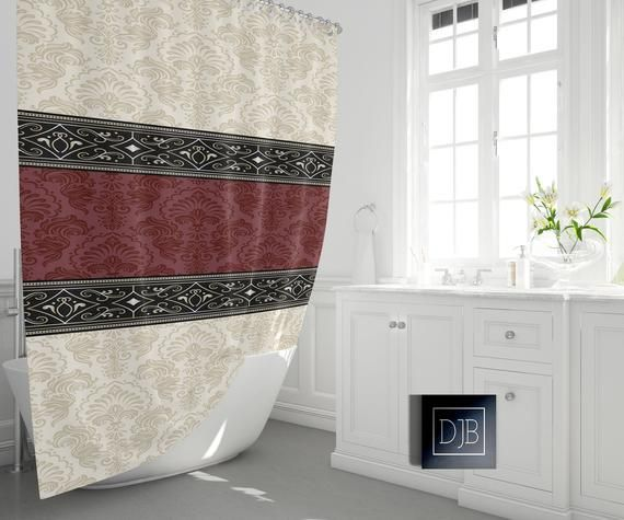 Beige And Burgundy Damask Shower Curtain Victorian Style Print
