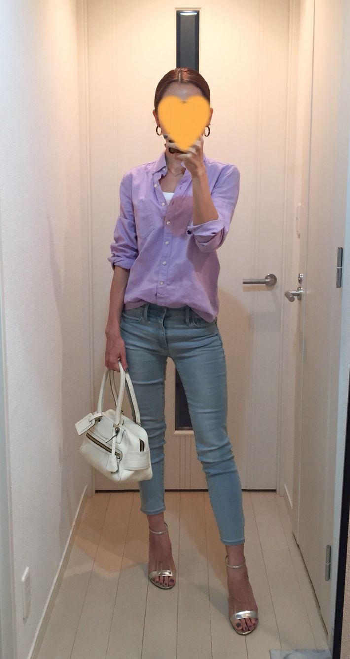 Purple shirt: Gap, Skinny: GAP, Bag: J&M Davidoson, Silver sandals: Kanematsu