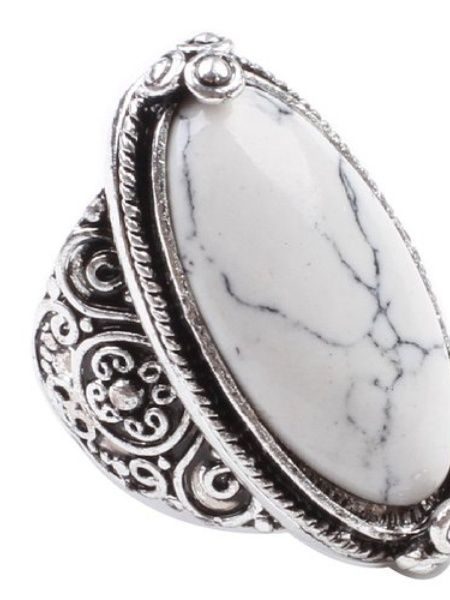 White Turquoise Silver-Plated Ring