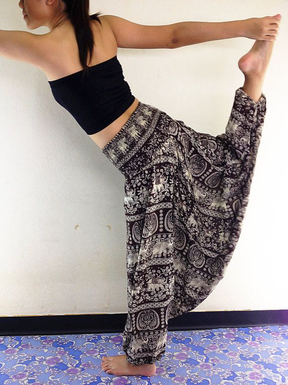 Thai Women Harem Pants Yoga Pants Aladdin Pants Maxi Pants Baggy Pants Gypsy Pant-s Rayon Pants Jumpsuit Trouser Elephant Brown (HP56) on Etsy, $16.99