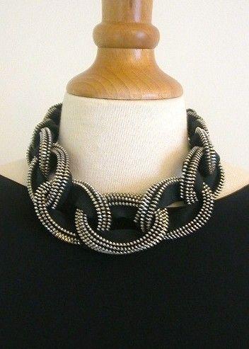 Mail a catena in metallo ottone cerniera collana in nero