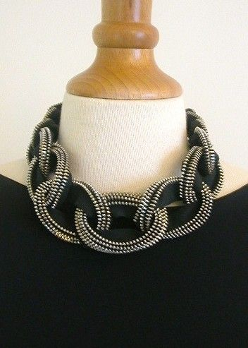 Chain Mail Metal Brass Zipper Necklace in Black by ReborneJewelry