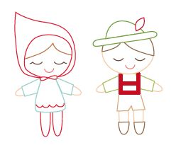 a cute pair of woodland children embroidery pattern FREE