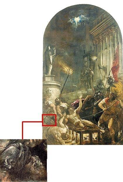 «Il Martirio di San Lorenzo», pala di cinque metri di altezza, dipinta tra il 1546 e il 1558 con evidenziato il particolare del possibile autoritratto di Tiziano