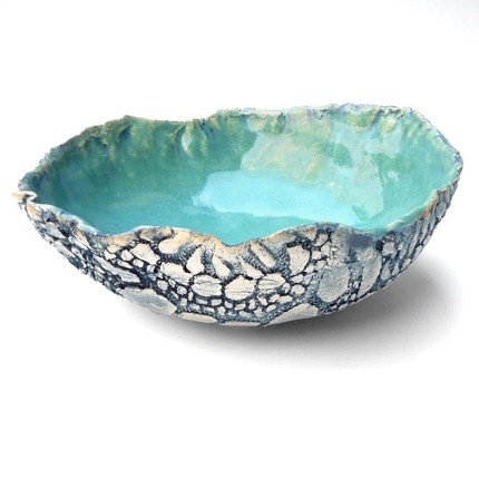 Textured Lace Bowl in Turquoise Waters.-  roll lace fabric on wet clay, drape over hump mold