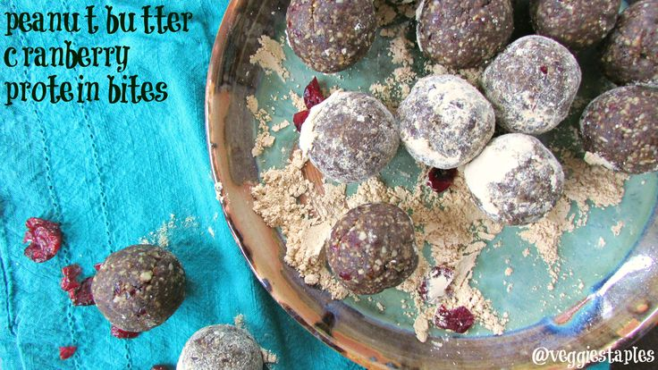 No Bake (Vegan/Gluten Free) Peanut Butter Cranberry Protein Bites. Super Easy to make for a no mess snack!