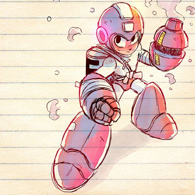 Fighting Robot Mega Man✨ #art #drawing #sketch #gaming #megaman #ink #watercolor #manga