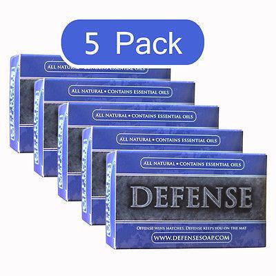 Defense Soap Bar 4 Oz (5 Pack) All Natural Antibacterial Antifungal Therapeutic