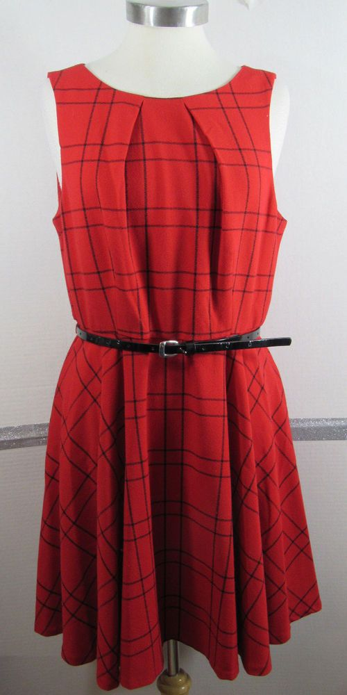 Elle Fit N Flare Dress Size 14 Red Black Check Polyester Blend Sleeveless Belted #ELLE #FitNFlare #AnyOccasion