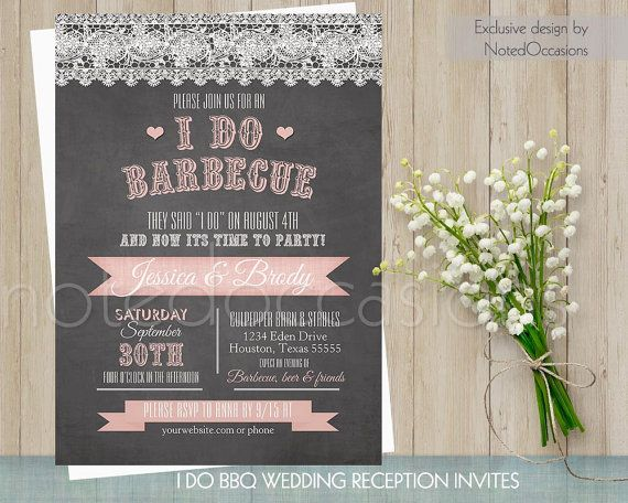 I Do BBQ Wedding Invitation | Printable Wedding Invitations | Chalkboard Country Wedding Blush Pink Wedding Reception Only Digital Template by NotedOccasions