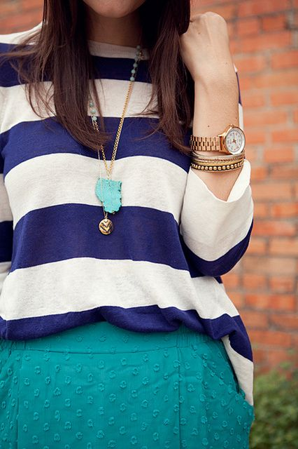 Colors Combos, Navy Stripes, Blue, Chains, Colors Combinations, Big Stripes, Gold Watches, Chunky Gold, Watches Jewellery