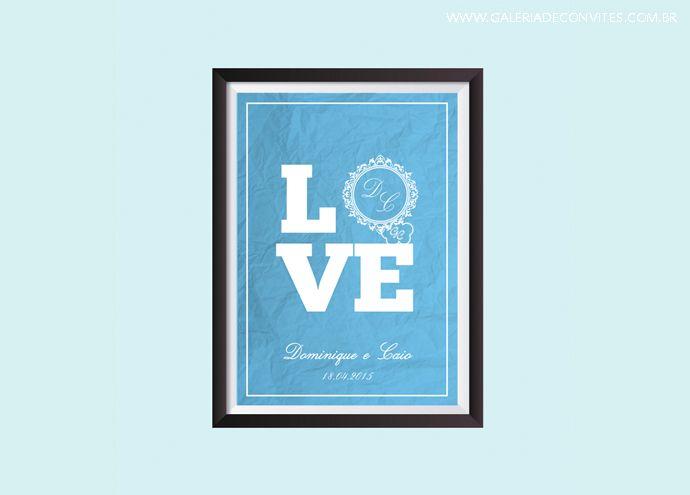 Quadro de casamento. Modelo 92. Entrega de arquivo digital. Criamos a arte de acordo com a identidade visual do seu casamento. Quadro para fazer parte da decoração da sua casa! Uma lembrança de um dia inesquecível!