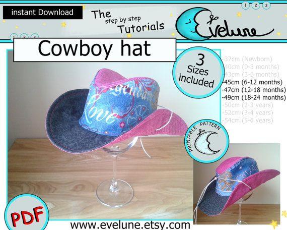 Cowboy hat PDF / English / 3 sizes included / Baby / Kids / Toddler / sewing / pattern / tutorial / DIY