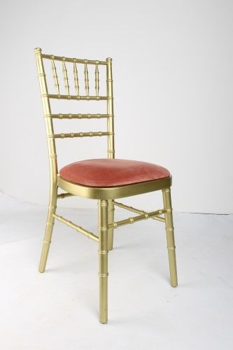 Gold Chivari Chair with Baby Pink Seat Pad For Hire