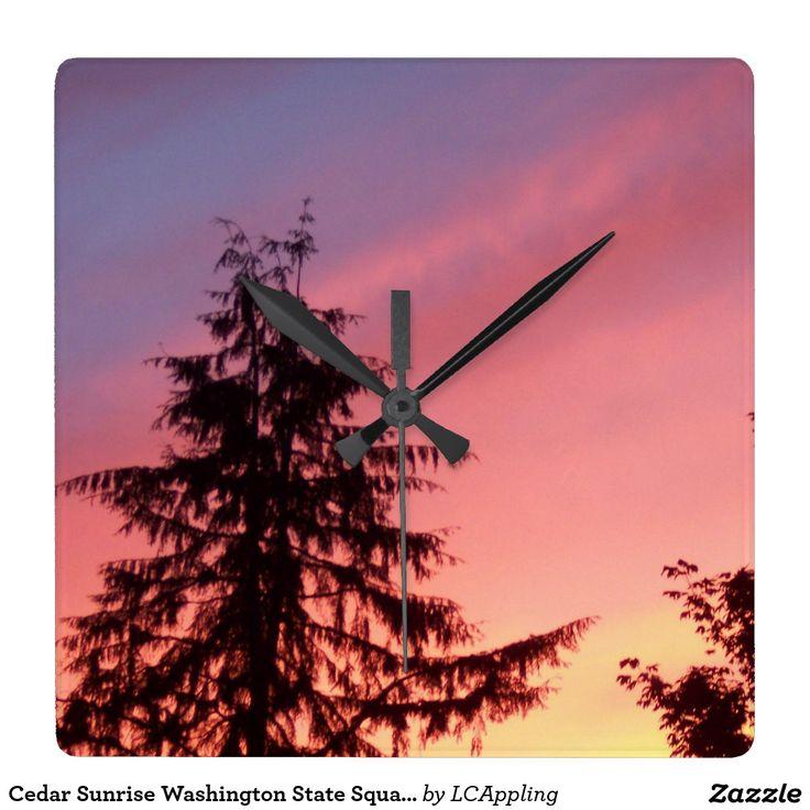 Cedar Sunrise Washington State Square Clock