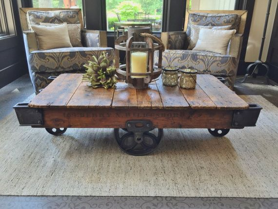 Early 1900's Reclaimed Factory Cart Coffee Table by BWSwoodshop