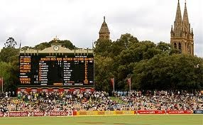 'Best looking cricket ground in the country!'   said previous pinner • Adelaide Oval historic score board • northern end • Adelaide's icons