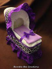 purple cheetah print diaper bassinet baby shower gift centerpiece