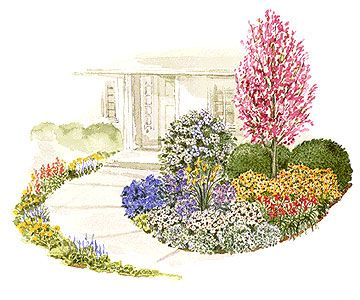 Add Drama to Your Front Door - Soften the front of your house and dress up your front door with this colorful garden plan. Garden size: 15 by 15 feet.