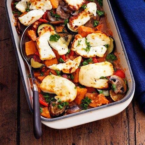 Mother's Day Recipes: Roasted Vegetable, Lentil and Halloumi Bake - See more recipes like this at goodhousekeeping.co.uk
