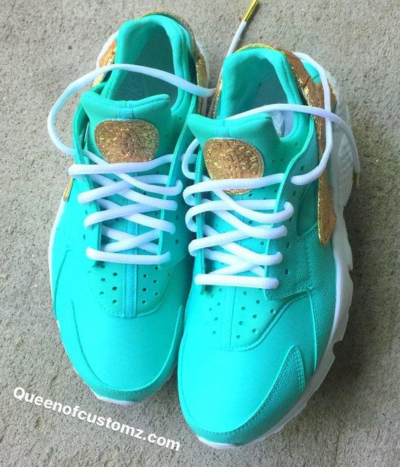 Gold Glitter and Turquoise Nike huaraches custom White Nike Huaraches  (AUTHENTIC) are used as the base and is hand painted or airbrushed. 2fae280f90