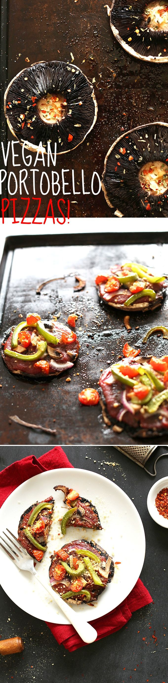 30-Minute Vegan GF Portobello Pizzas! A healthy dinner idea, customizable with toppings and entirely plant-based! #vegan #glutenfree #healthy
