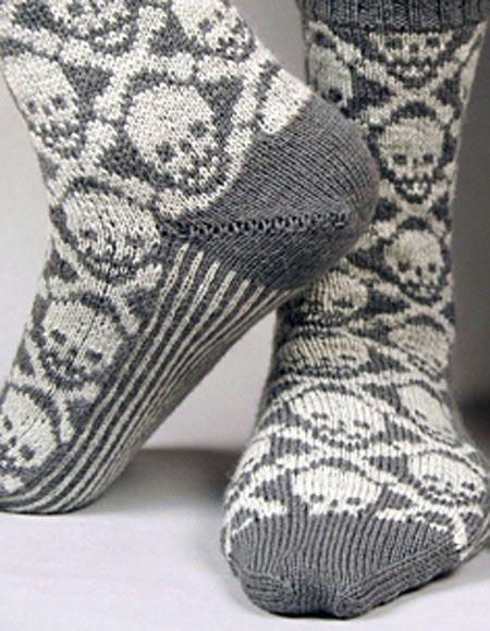 Hot Crossbones Socks - Knitting Patterns and Crochet Patterns from