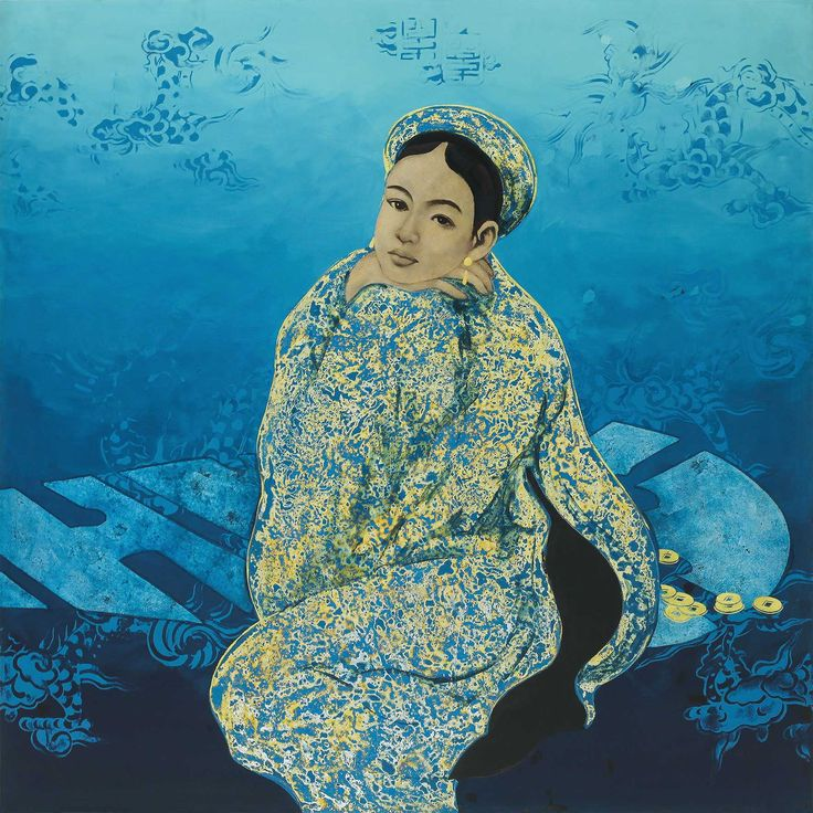 "Bui Huu Hung, Loneliness 2009 / 2015 © www.lumas.de/ - Bui Huu Hung's art is mysterious, drawing inspiration from Vietnamese myths and legends that are still prevalent today. This work called ""Loneliness"" shows an asian lady. It combines tradition and modernity; he is as much a master of old techniques as he is a free-spirited artist who translates them into the present. #Asian #Cultural #Tradition #Blue #Woman #Lady #Lumas #LiberationOfArt"