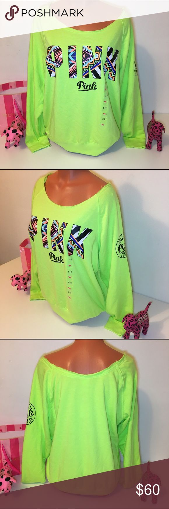 NEW PINK VS SLOUCHY CREWNECK LOGO SWEATSHIRT PINK VICTORIA'S SECRET   SLOUCHY CREWNECK SWEATSHIRT WITH BIG LOGO ON THE FRONT WITH AZTEC PRINT ON IT. SO GORGEOUS!!!  SIZE L   COLOR GREEN    FAST SHIPPING!!!   Check out my other items! I am sure you will find something that you will love it! Thank you for watch!!!!!   Be sure to add me to your favorites list! PINK Victoria's Secret Tops Sweatshirts & Hoodies