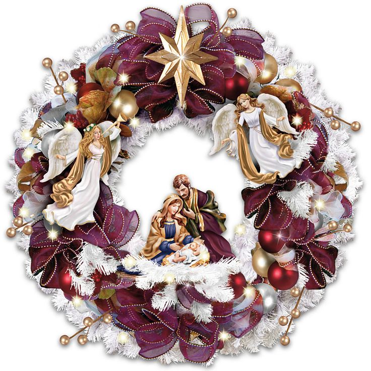 Thomas Kinkade Christmas Blessings Illuminated Wreath With Angels And Nativity…