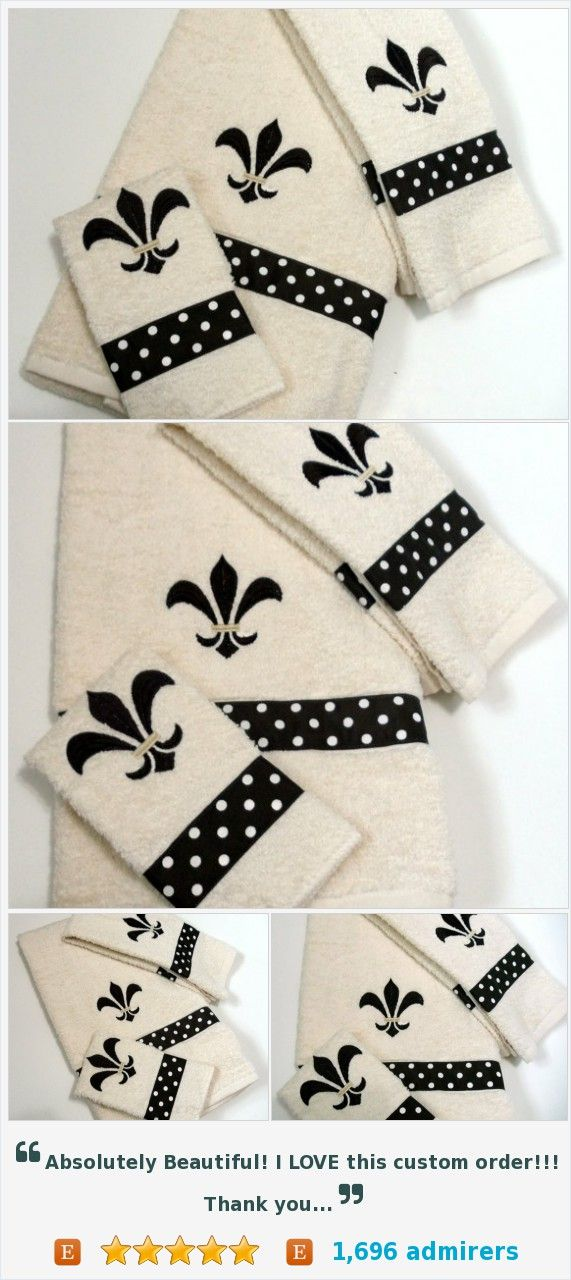 Embroidery  Flore De Lis Ribbon Dots Brown  on Cream Bath Towel Hand Towel  Wash Cloth @kalliescotton https://www.etsy.com/listing/118767956/