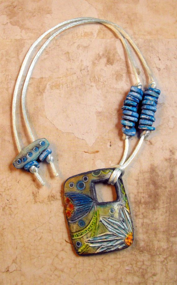 Blue Flower - Carved Pendant from Polymer Clay - Handmade
