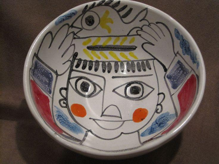 Desimone Italian Pottery Bowl Abstract Fish Seller Mid Century Modern 6 Inch VTG #desimone