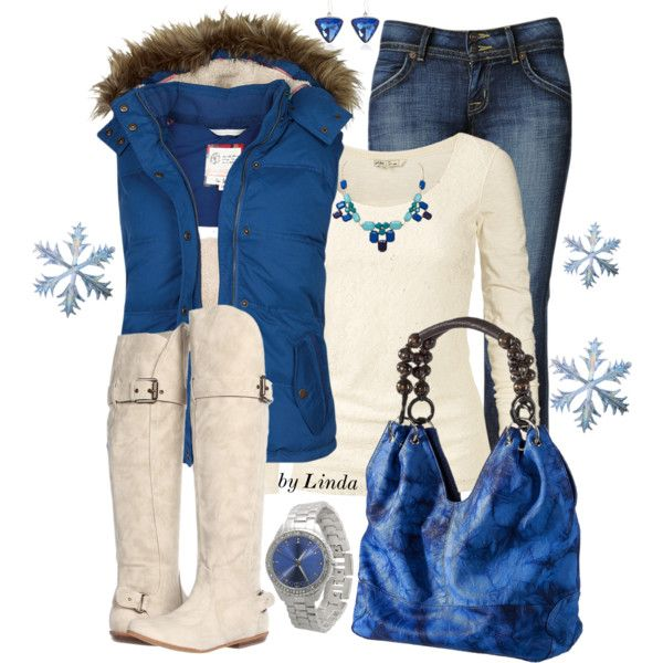 """""""Blue & Cream Winter Outfit"""" by lindakol on Polyvore"""
