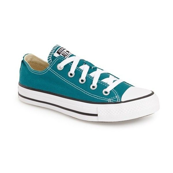 Converse Chuck Taylor All Star 'Ox' Low Top Sneaker ($55) ❤ liked on Polyvore featuring shoes, sneakers, rebel teal, low tops, teal shoes, lacing sneakers, laced shoes and plimsoll shoes
