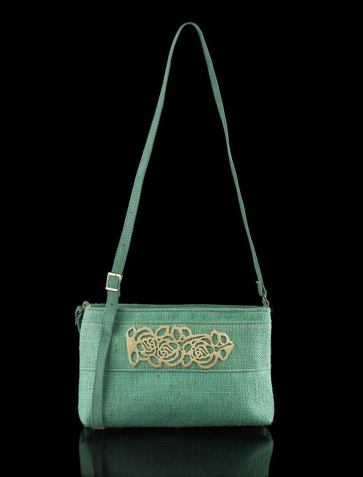 Linen shoulder bag, handmade in Greece, lasercut leather motif, inside pocket,Exclusive Creation, www.contessina.gr