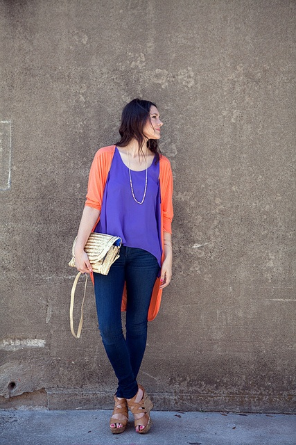 Casual: Colors Combos, Orange Cardigans, Weekend Outfits, Cute Outfits, Colors Combinations, Blue Orange, 52712E, Cardigans Outfits, Bright Colors