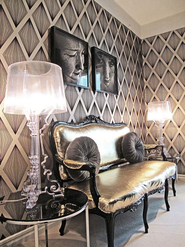 Metallic upholstery, acrylic lamp, sheer shade, graphic pattern wallpaper
