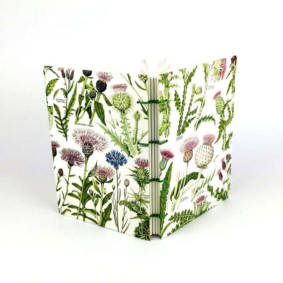 Botanical Journal Thistle Notebook Garden Notebook Flower