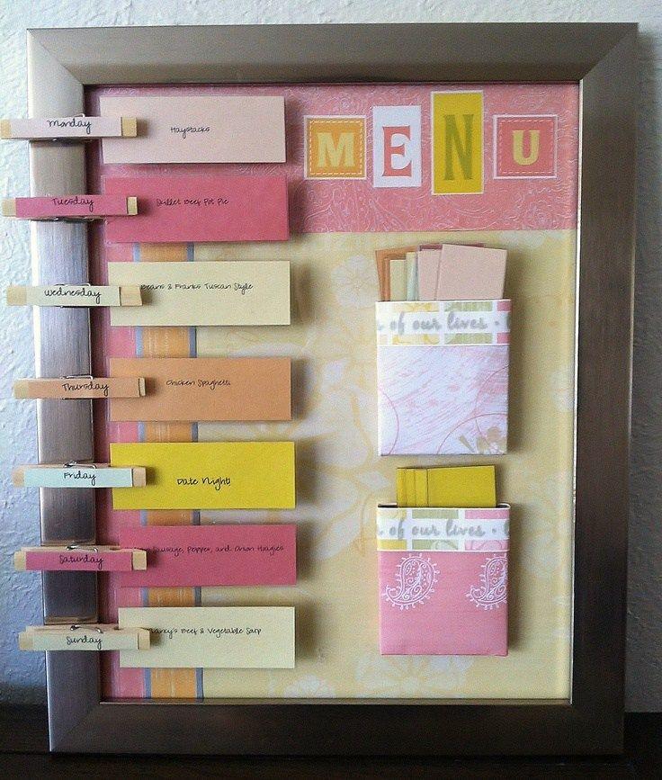 Mon idée pour planifier menu : Un code couleur par jour pour équilibrage alimentaire. Un dossier informatique ou une boîte par saison, avec 7 sous-dossier ou 7 petites boîtes par code couleurs. Tirage au sort, dans chaque boite d'une idée de plat pour chaque jour de la semaine !