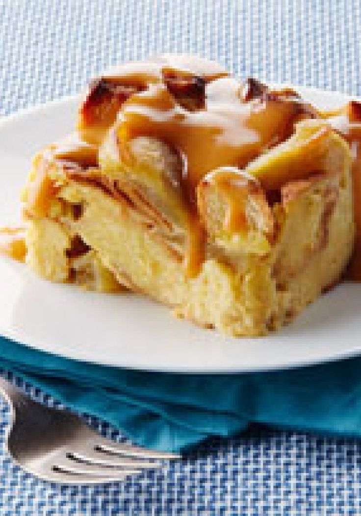 Slow Cooker Apple Bread Pudding With Warm Butterscotch