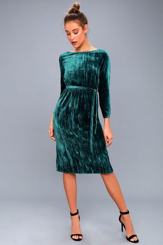 4604f9626b99 Lennox Forest Green Velvet Long Sleeve Midi Dress in 2019