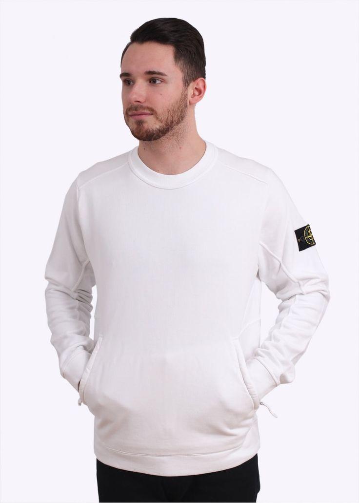 Stone Island Zip Logo Sweatshirt - White