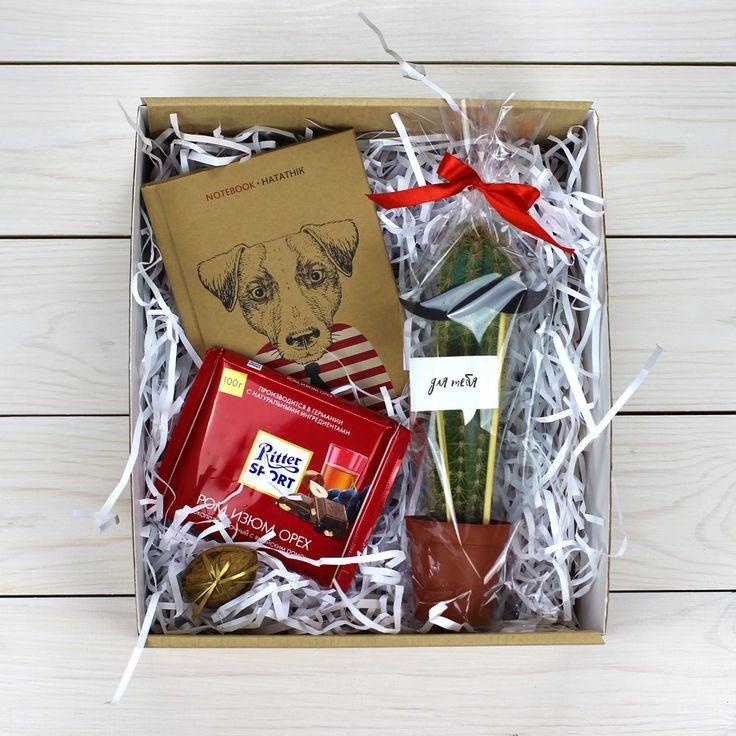 Подарок для офиса с блокнотом и кактусом ...