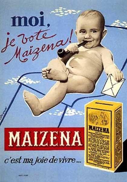Quand le tabac ne faisait pas encore peur... et que la pub n'était pas censurée. / Maizena. / By Droux, 1950.