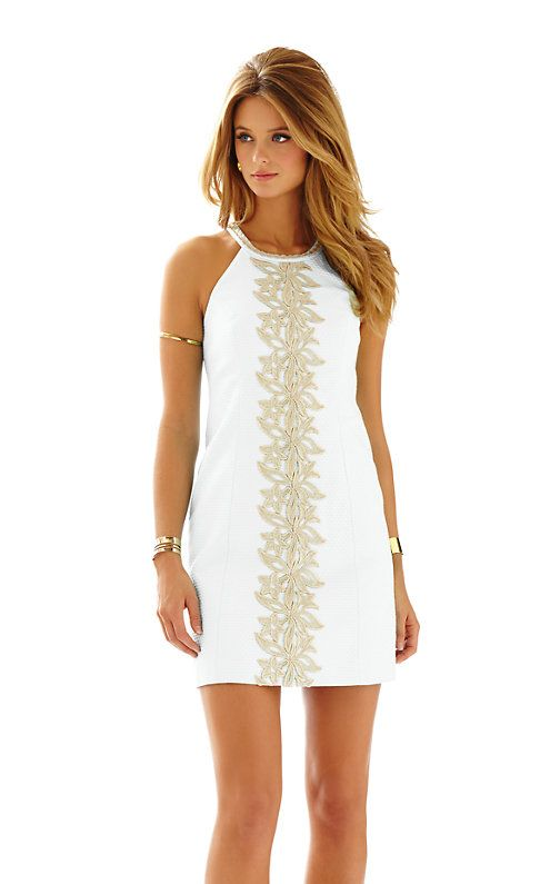 Lilly Pulitzer Pearl Lace Detail Shift Dress in Resort White- beautiful gold lace detail