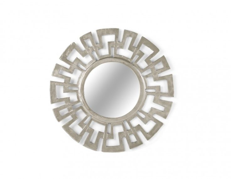 Made of aluminum in a pewter finish, Green Key is the perfect eclectic focal point. With an intricate  Greek key, or meandros, pattern, this mid-century decorative mirror will add a worldly flavour to your décor, on its own or juxtaposed to other wall accents.