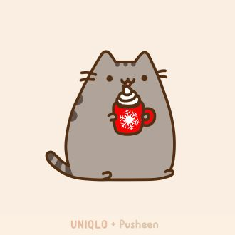 Pusheen the cat is full of holiday cheer! So cute!