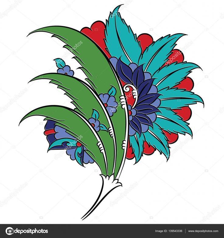Iznik tarzı çiçek Çizim — Stok İllüstrasyon #139543336