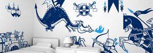 Knights Dragon Wall Decal - Baby & Kids Wall Decals E-Glue - Children Room Wall Decor